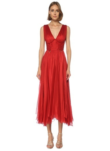 Maria Lucia Hohan Maria Lucia Hohan Sorena  V Yaka Midi İpek Kokteyl Elbise 101541267 Kırmızı